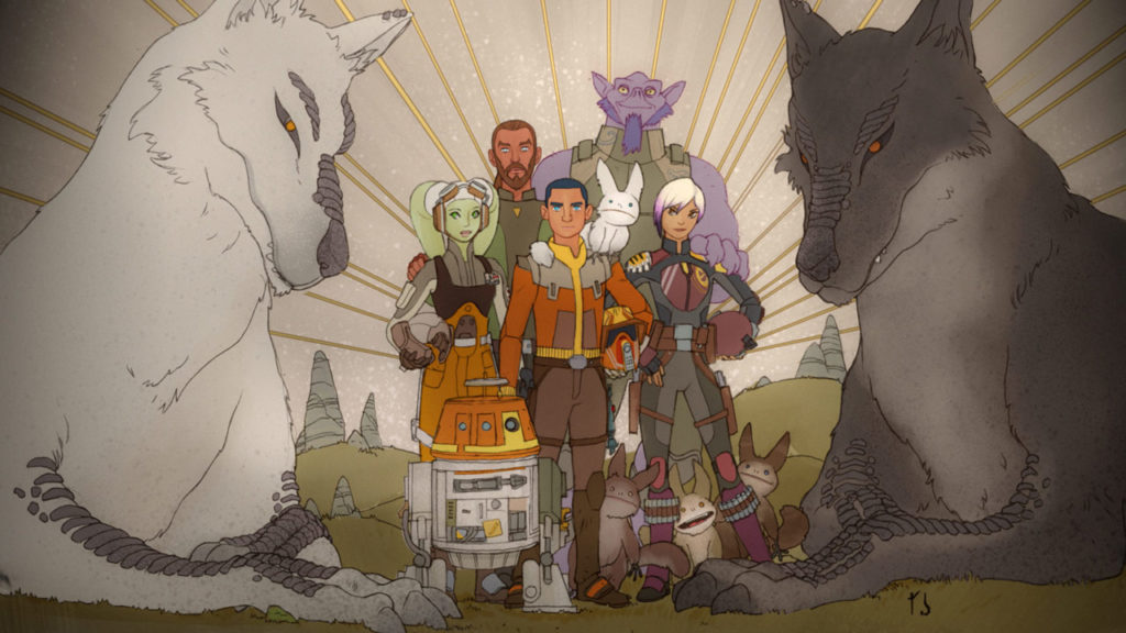 A painting of the Ghost crew in Star Wars Rebels.