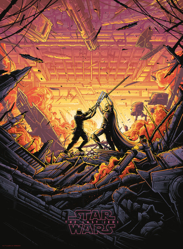 Dan Mumford Star Wars: The Last Jedi print - Finn vs. Phasma