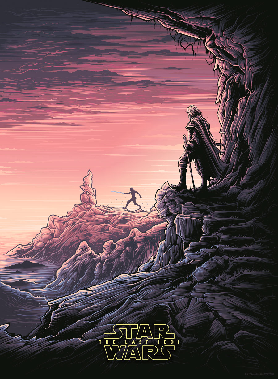 Dan Mumford Star Wars: The Last Jedi print - Luke and Rey variant