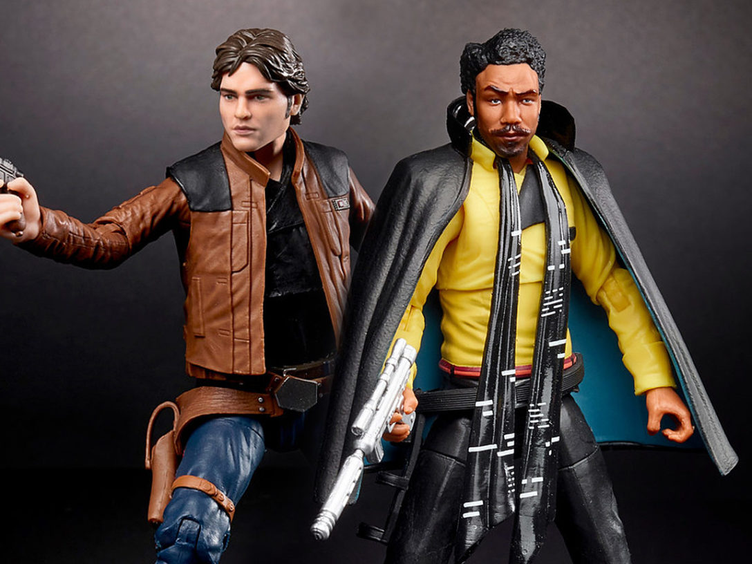Han Solo and Lando Calrissian Black Series figures.