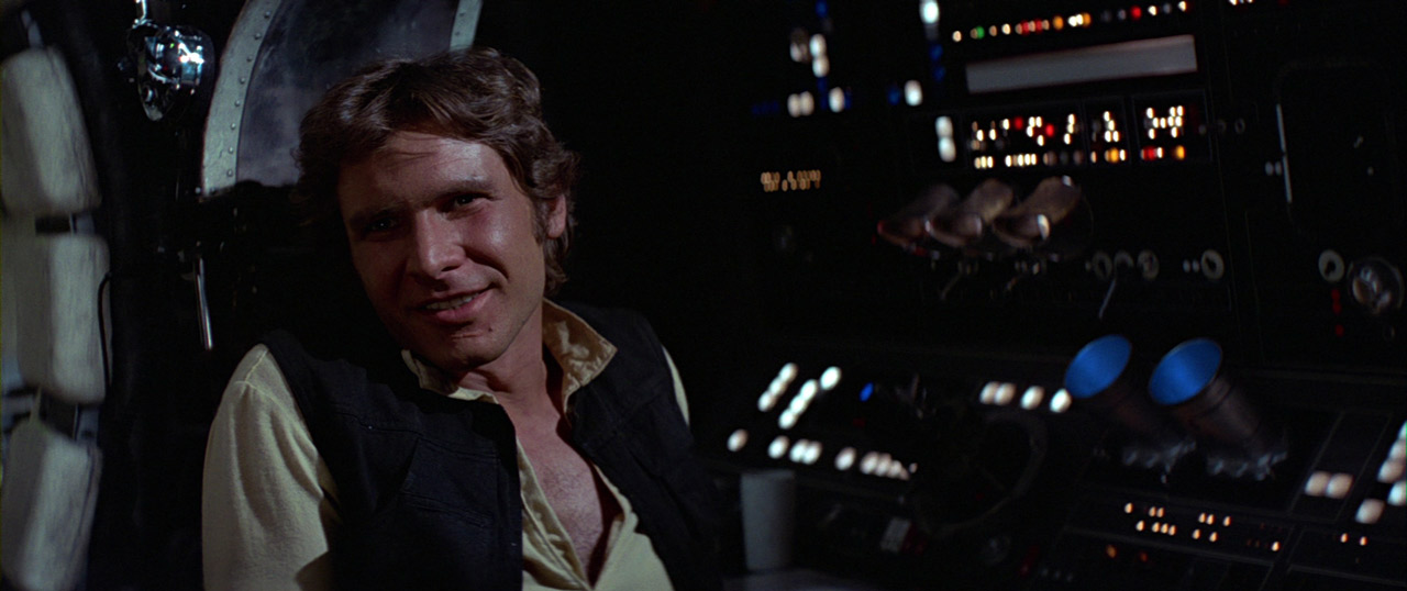 Han Solo in the Falcon.