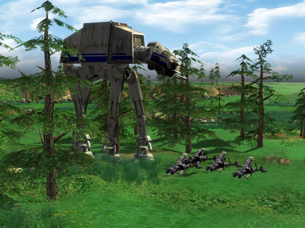Star Wars Empire at War screenshot featuring AT-AT on Endor.