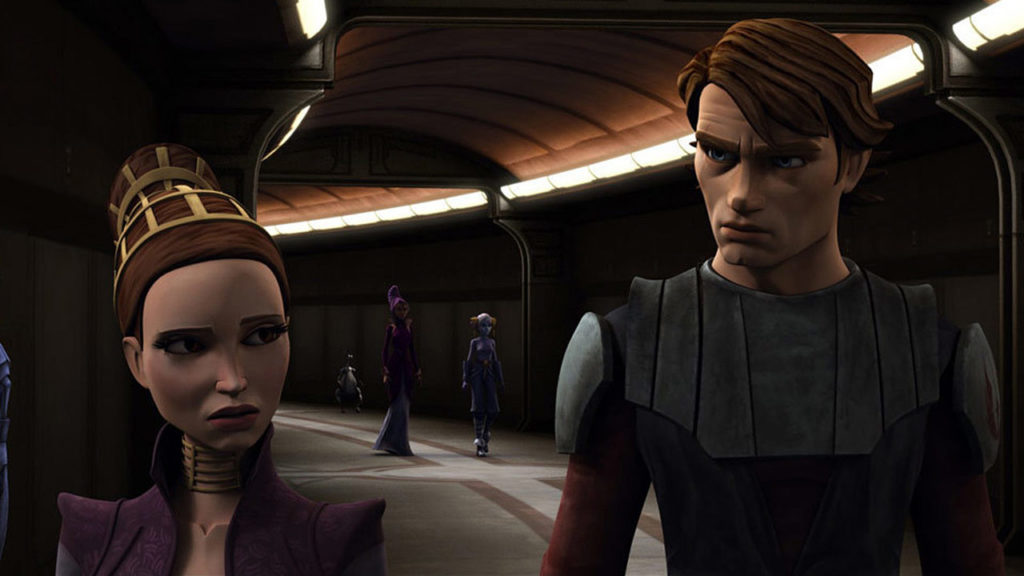 Padme and Anakin in The Clone Wars.