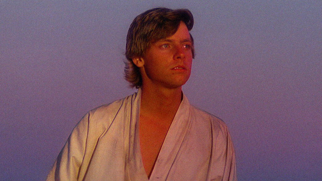 Luke Skywalker watches the suns set.