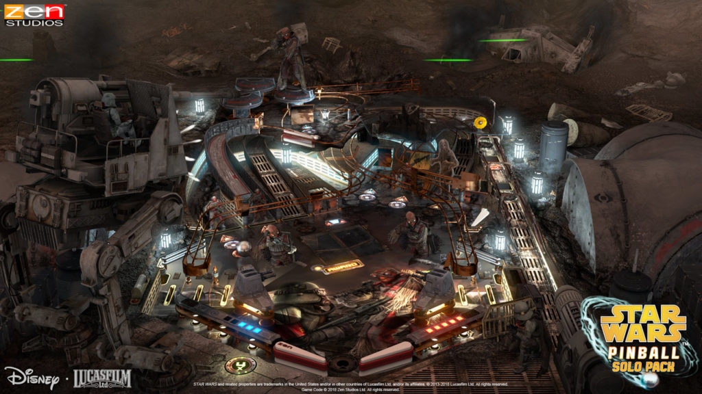 A screenshot of the Battle of Mimban table from the Star Wars Pinball: Solo Pack.