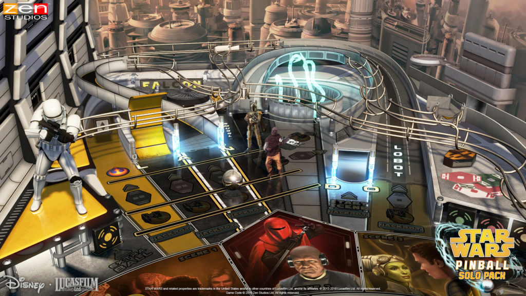 A screenshot of the Calrissian Chronicles table from the Star Wars Pinball: Solo Pack.