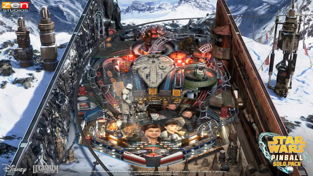 A screenshot of the Solo table from the Star Wars Pinball: Solo Pack.