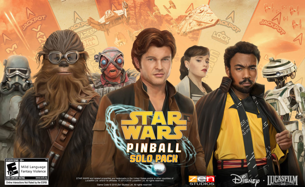 Key art from the Star Wars Pinball: Solo Pack.
