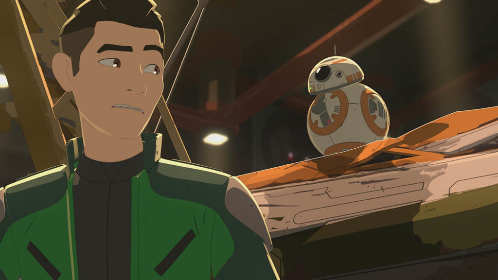 Kaz and BB-8 are shown in a scene from Star Wars Resistance.