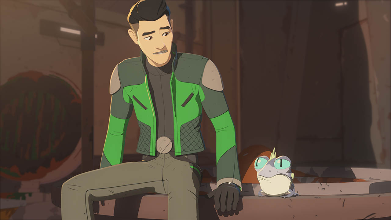 Kaz is shown in a scene from Star Wars Resistance.