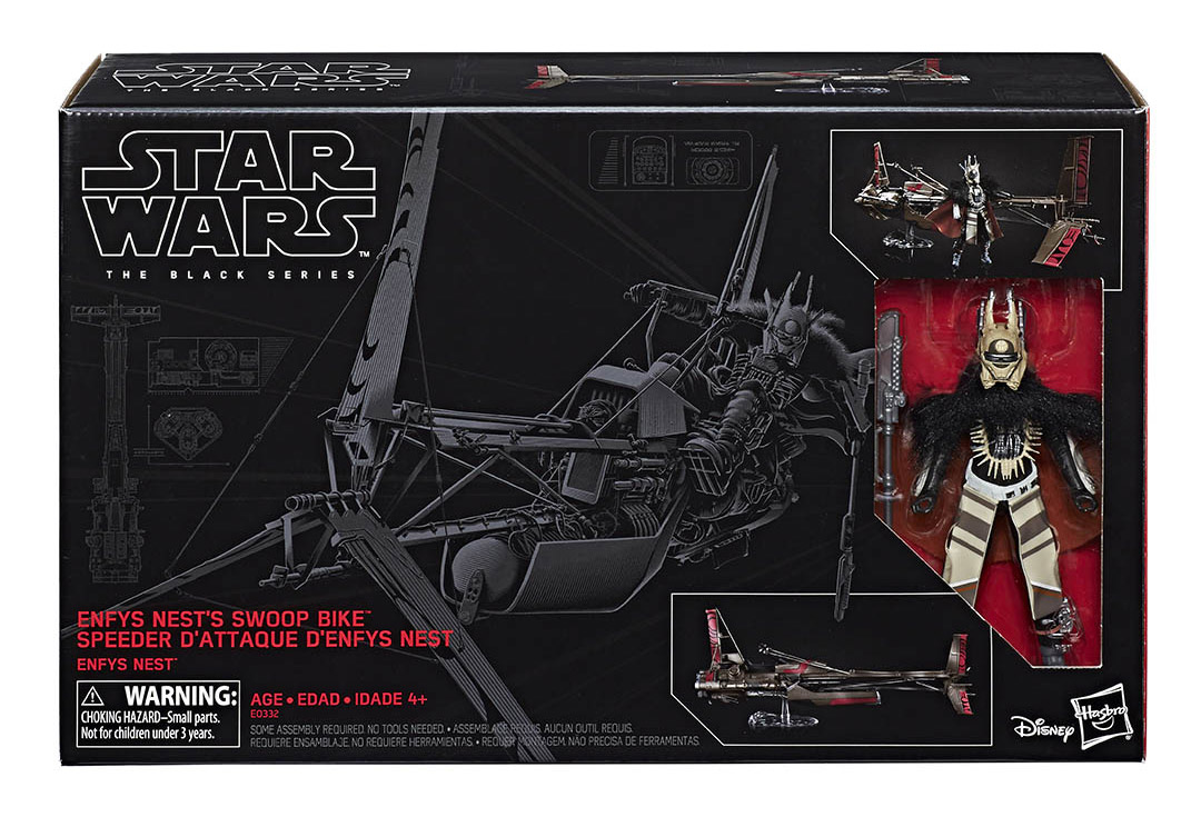 Hasbro's Black Series Enfys Nest action figure with swoop bike.