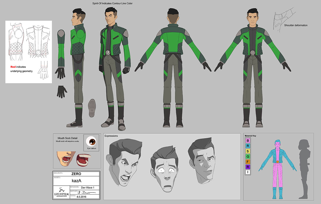 Concept art for Kaz Xiono in Star Wars Resistance.