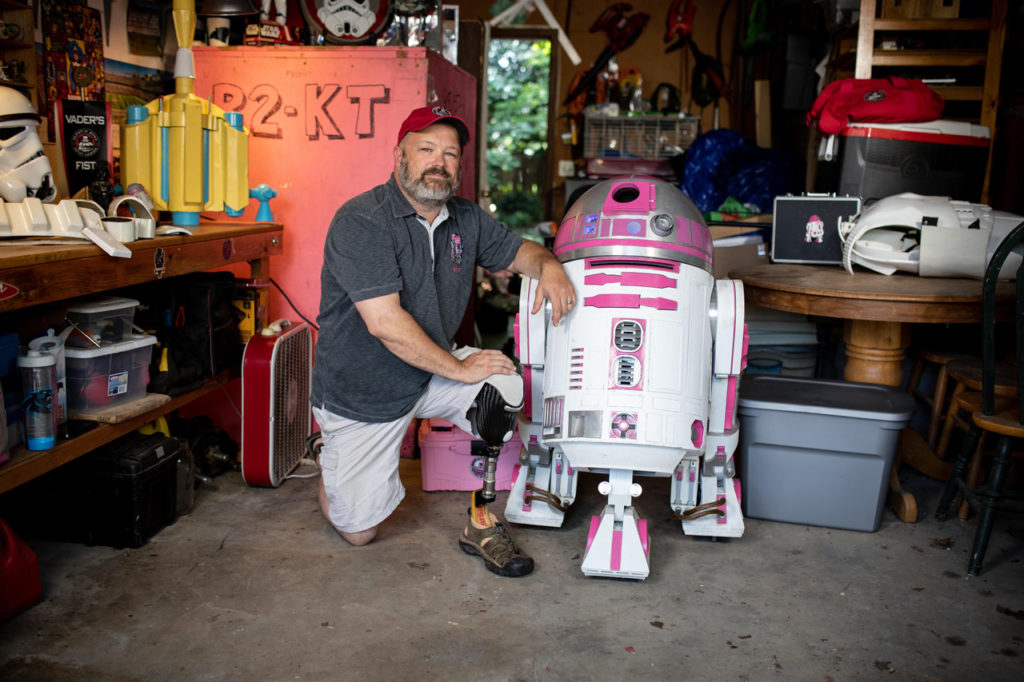 Albin Johnson with R2-KT from Our Star Wars Stories.