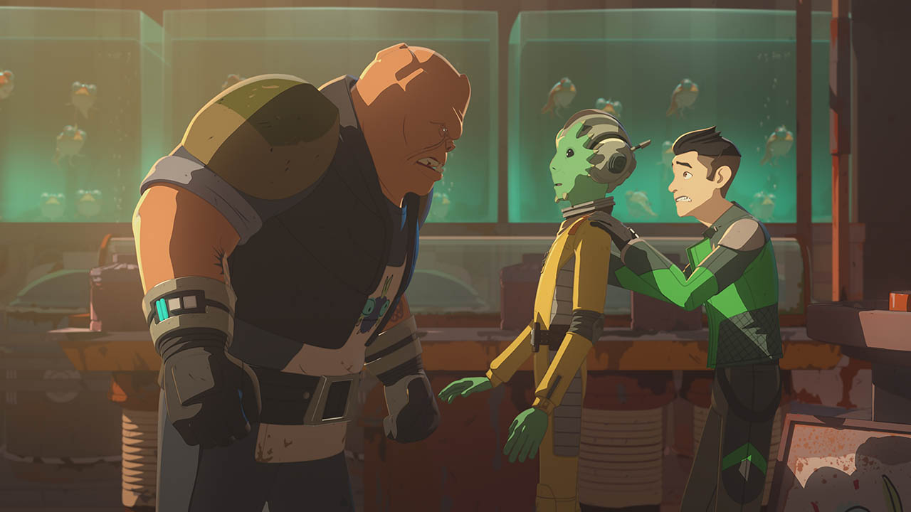 Kaz gets into trouble in a scene from Star Wars Resistance.