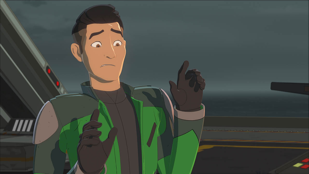 Kaz Xiono is shown in a scene from Star Wars Resistance.