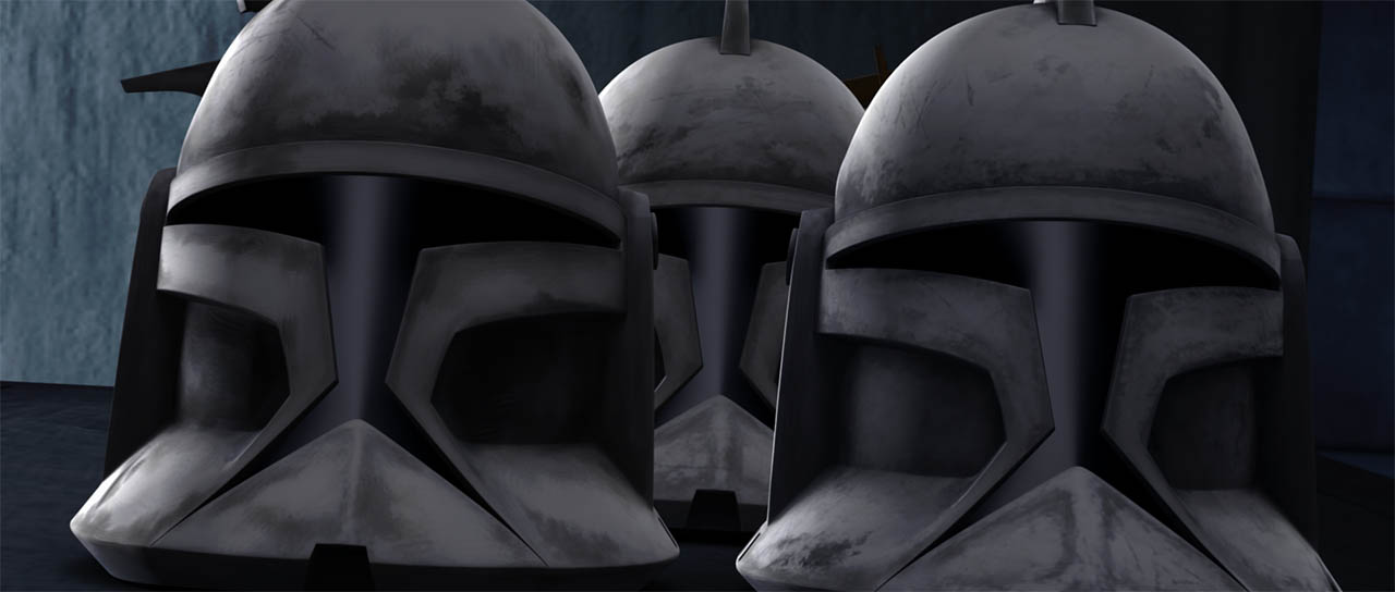 "Clone trooper helmets are seen in ""Rookies."""