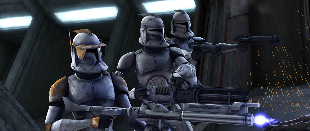 "Clone troopers fight back in ""Rookies."""