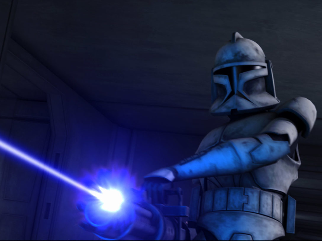 "Clone Trooper Hevy blasts at invading forces in ""Rookies."""
