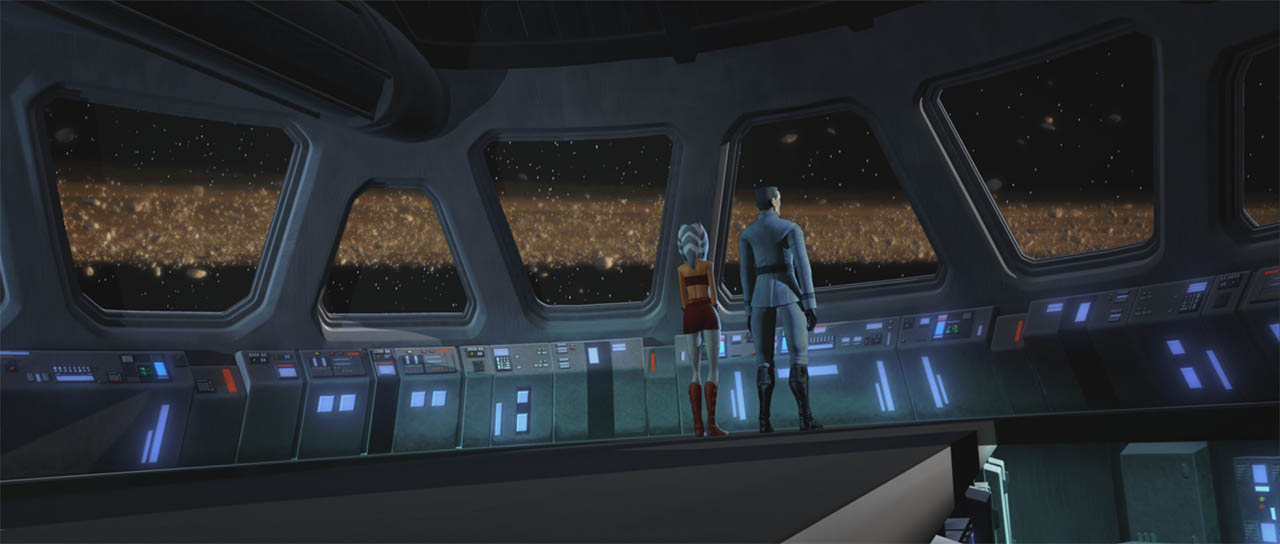 "Ahsoka and a clone observe an asteroid belt seen in a scene from ""Downfall of a Droid."""