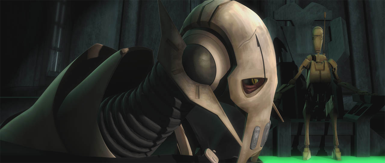 "General Grievous is seen in a scene from ""Downfall of a Droid."""