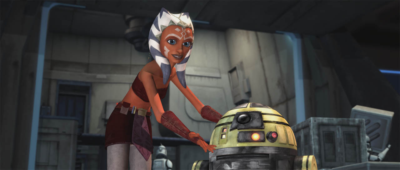 "Ahsoka introduces ""Goldie"" seen in a scene from ""Downfall of a Droid."""