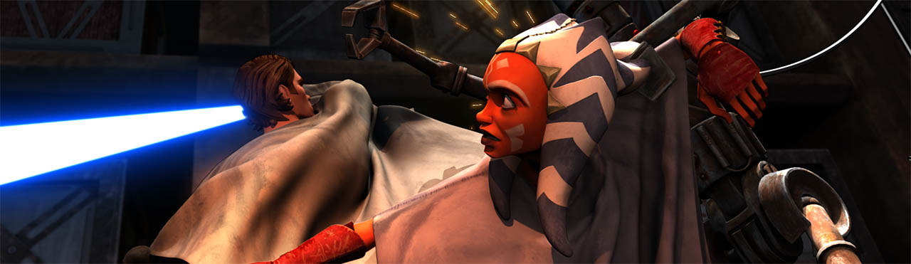 "Ahsoka and Anakin battle some droids seen in a scene from ""Downfall of a Droid."""