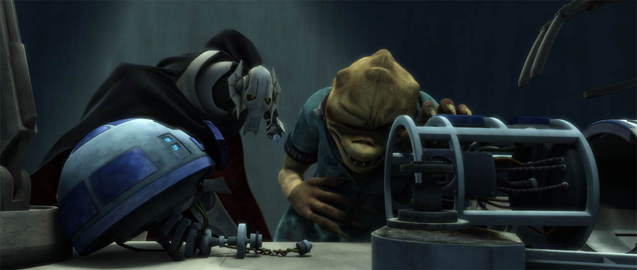 "General Grievous watches R2-D2 get hacked apart is seen in a final frame from ""Duel of the Droids."""