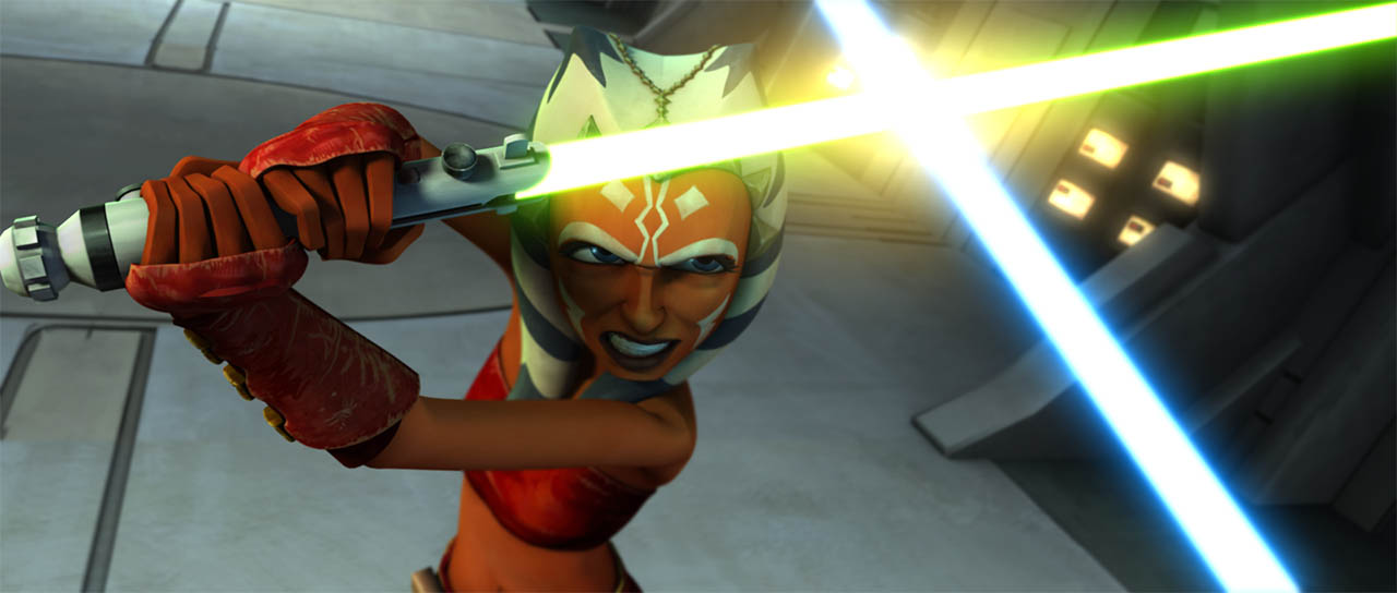 "Ahsoka duels with Grievous is seen in a final frame from ""Duel of the Droids."""