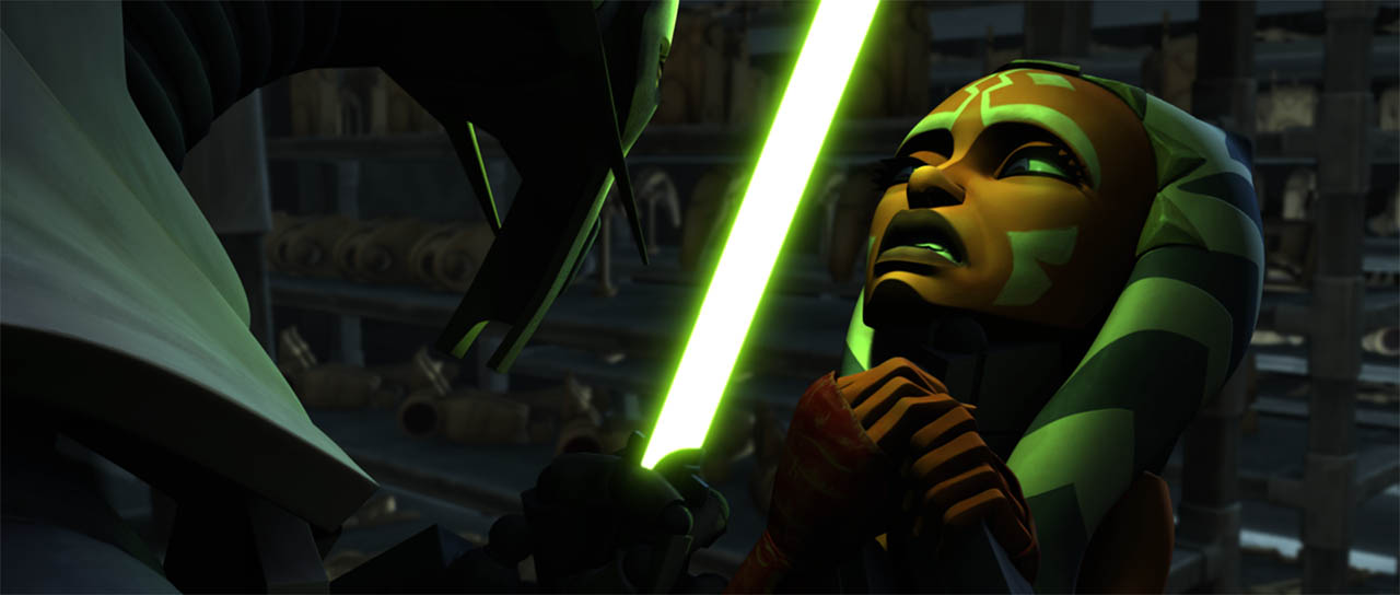"Ahsoka and Grievous fight in a final frame from ""Duel of the Droids."""