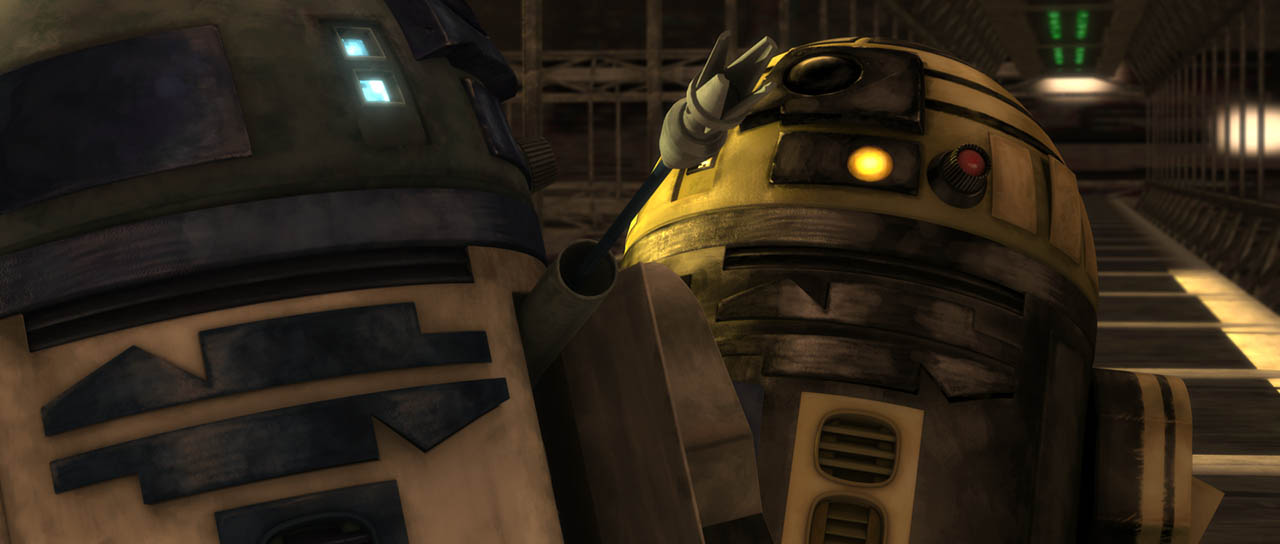 "Artoo fights with Goldie is seen in a final frame from ""Duel of the Droids."""