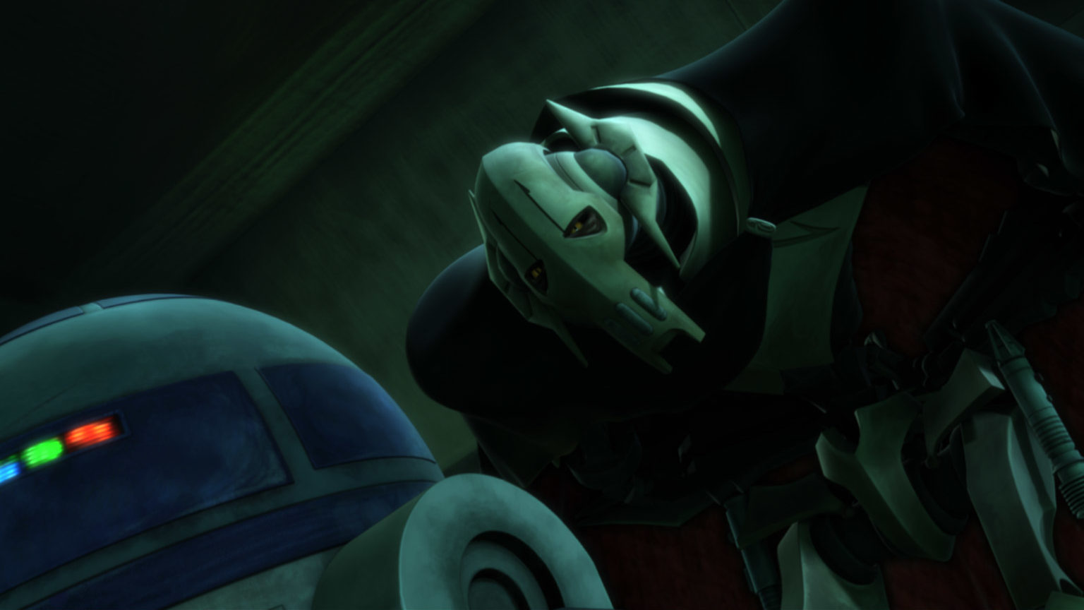"Grievous and R2-D2 are seen in a scene from ""Duel of the Droids."""