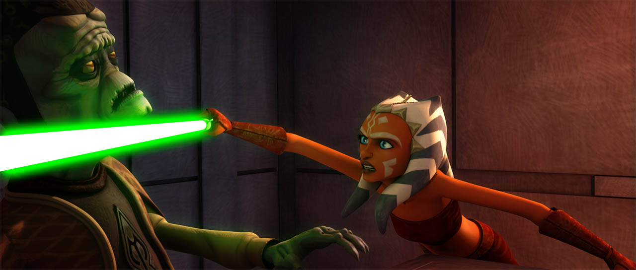 "Ahsoka threatens Gunray as seen in ""Cloak of Darkness."""