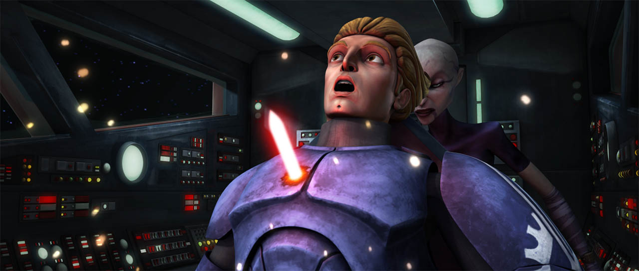 "Ventress kills Captain Argyus as seen in ""Cloak of Darkness."""