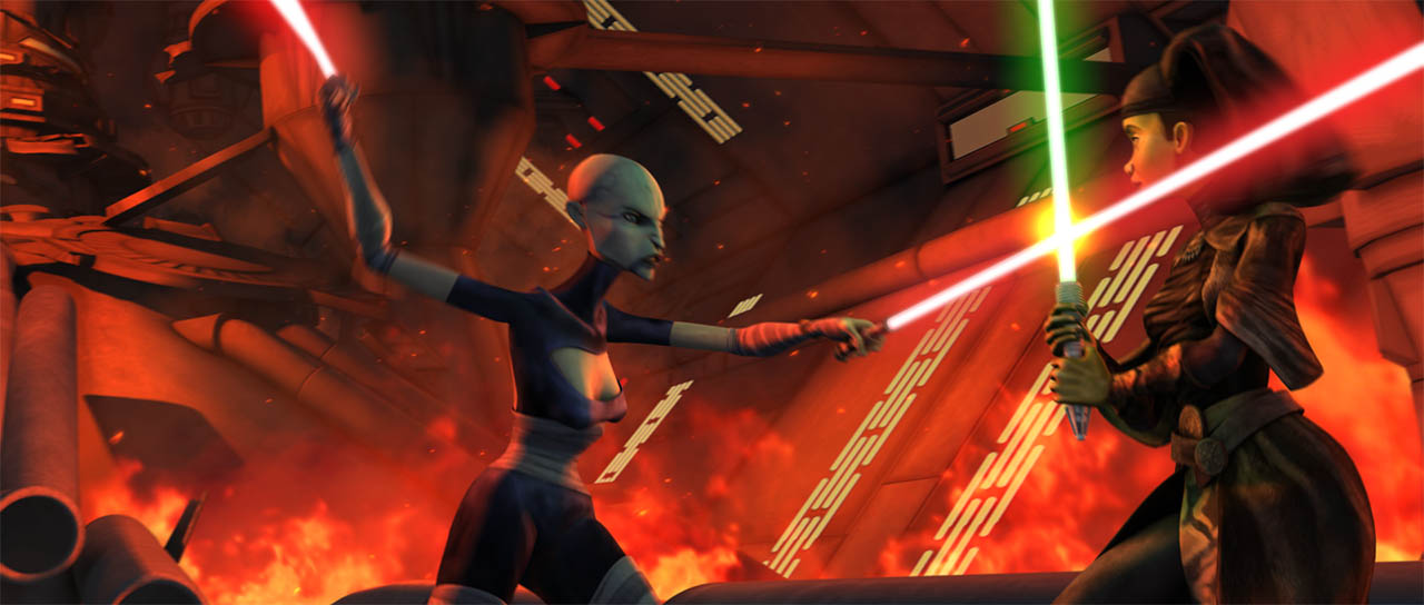 "Ventress battles Luminara as seen in ""Cloak of Darkness."""