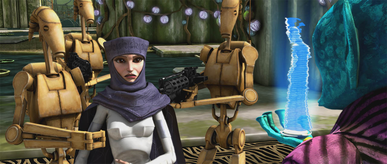 "Padme is captured in a scene from ""Bombad Jedi."""