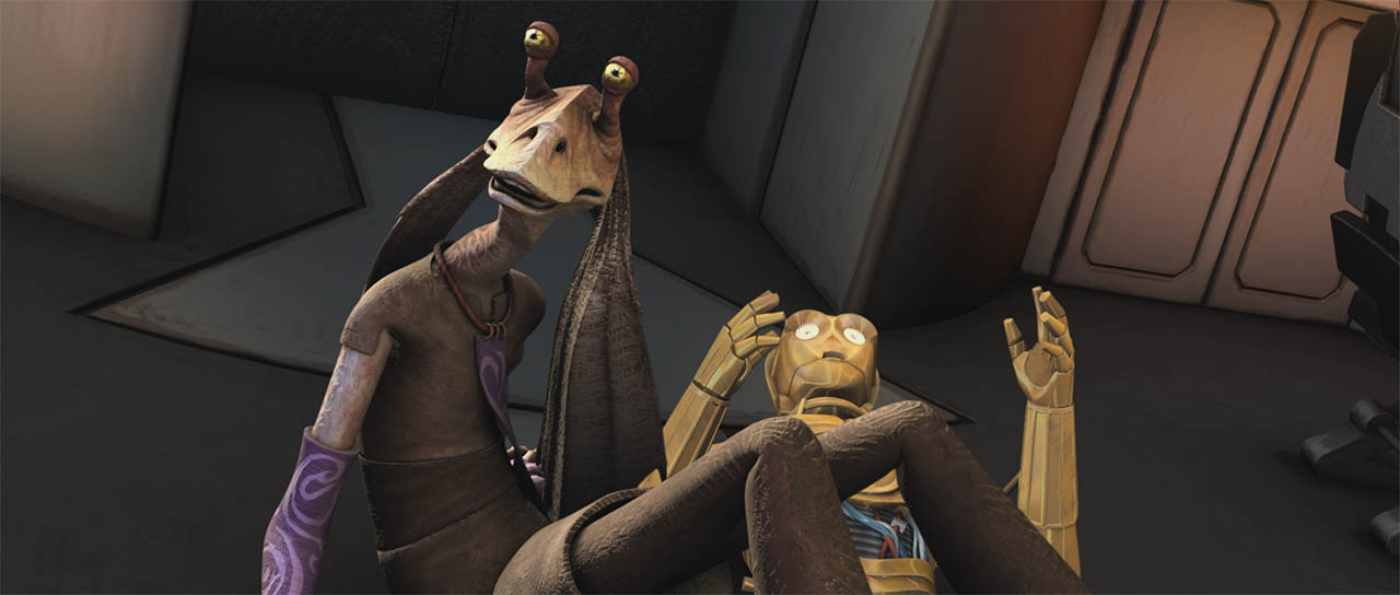 "Jar Jar and C-3PO crash to the ground in a scene from ""Bombad Jedi."""