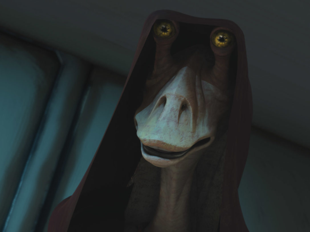 "Jar Jar Binks is seen in a scene from ""Bombad Jedi."""