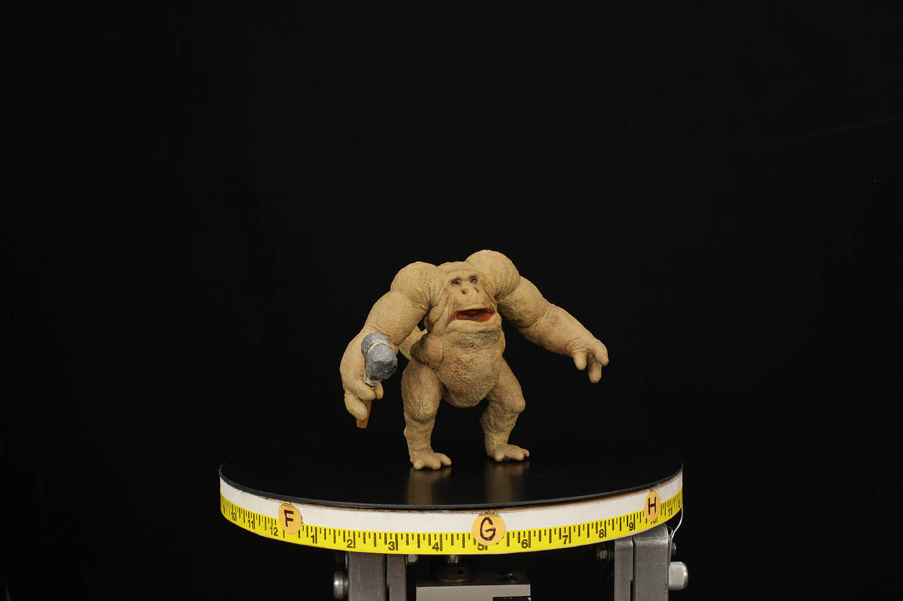 Tippett Studio shows off the puppet called Hunk, from the holochess set.