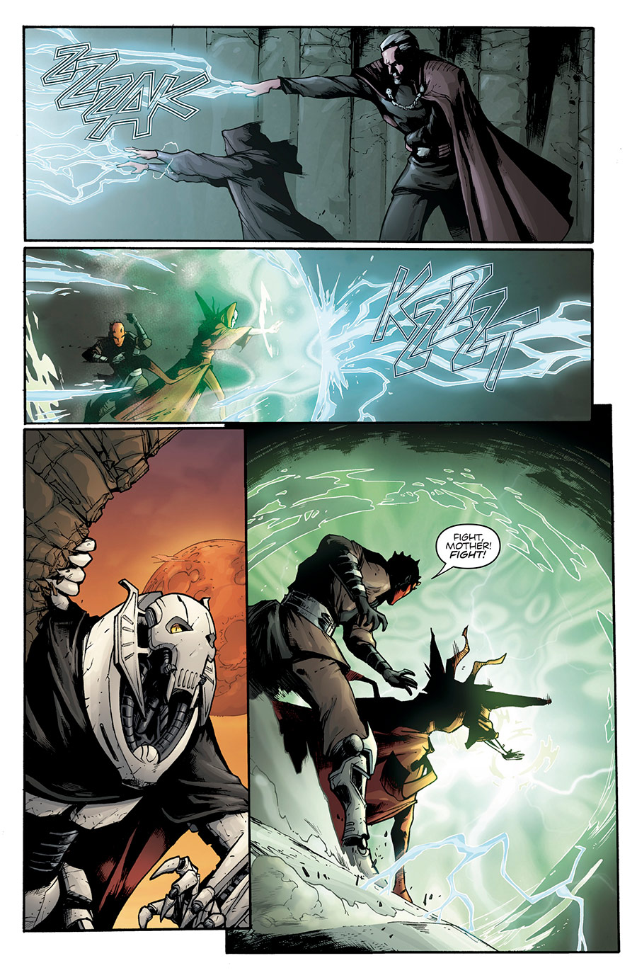"A scene from the ""Son of Dathomir"" comic depicting Mother Talzin's defense of Maul on Dathomir"
