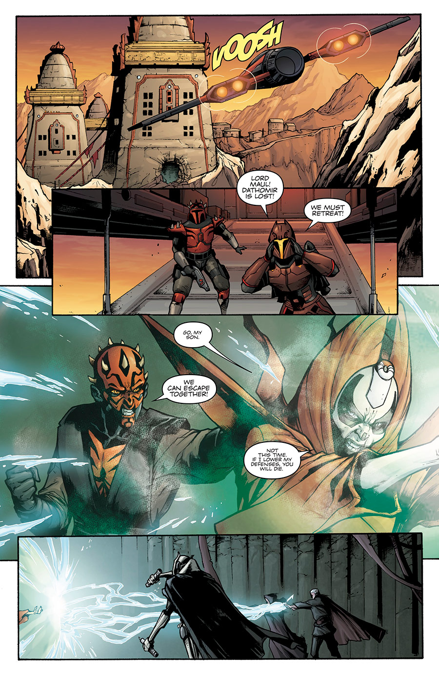 "A scene from the ""Son of Dathomir"" comic depicting Maul's expulsion from Dathomir"
