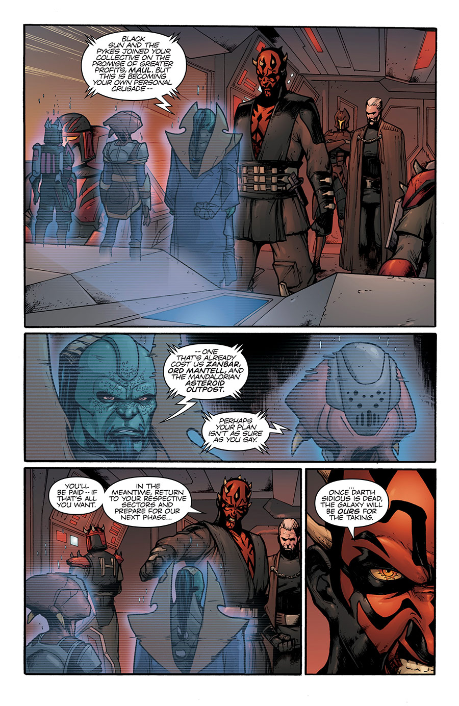 "A scene from the ""Son of Dathomir"" comic depicting a holocall between Maul and prominent Galactic crime lords"