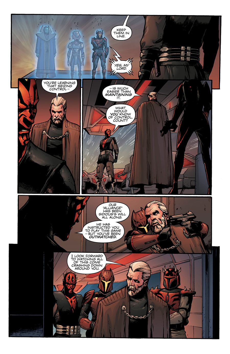 "A scene from the ""Son of Dathomir"" comic depicting an exchange between Maul and Dooku"