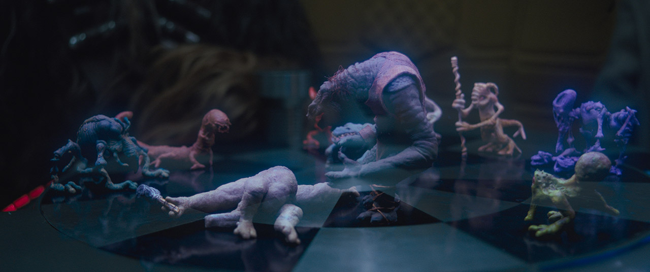 The holochess set is scene in a frame from Solo: A Star Wars Story.