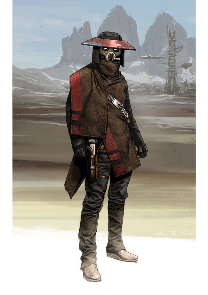 "Concept art of who would become ""The Dealer"" by Adam Brockbank."