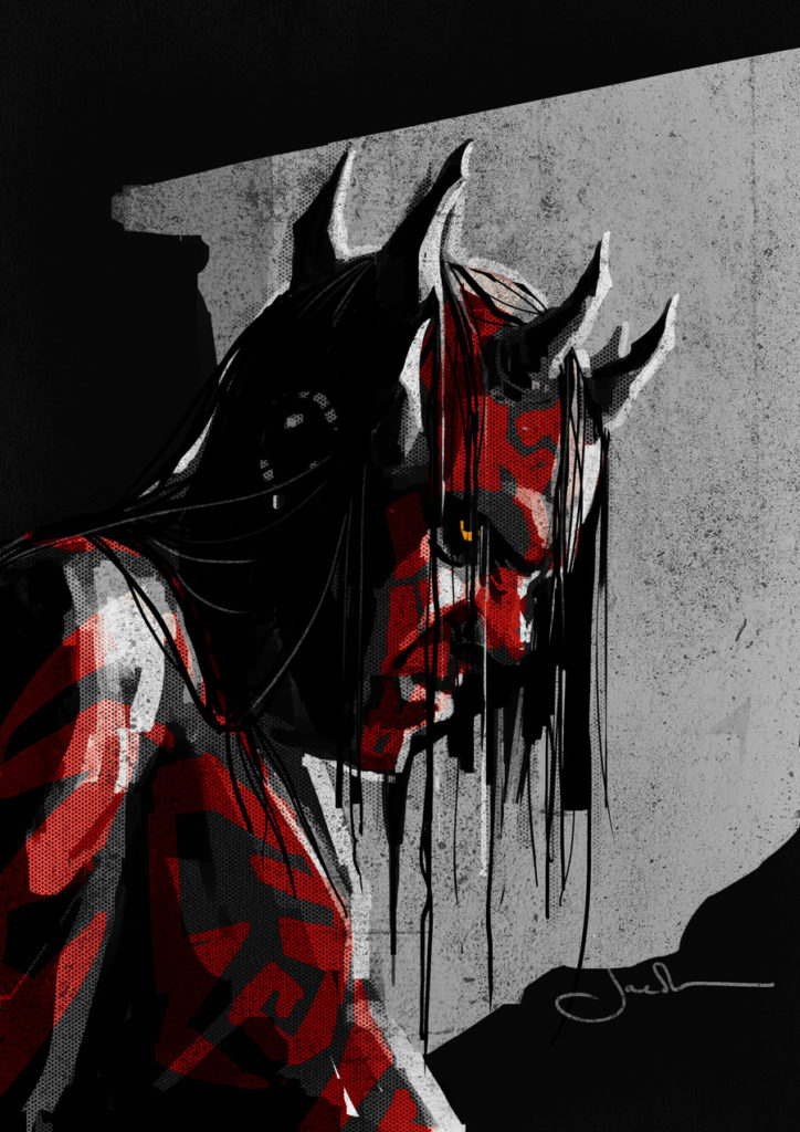 Darth Maul with hair Solo concept art by Jake Lunt Davies.