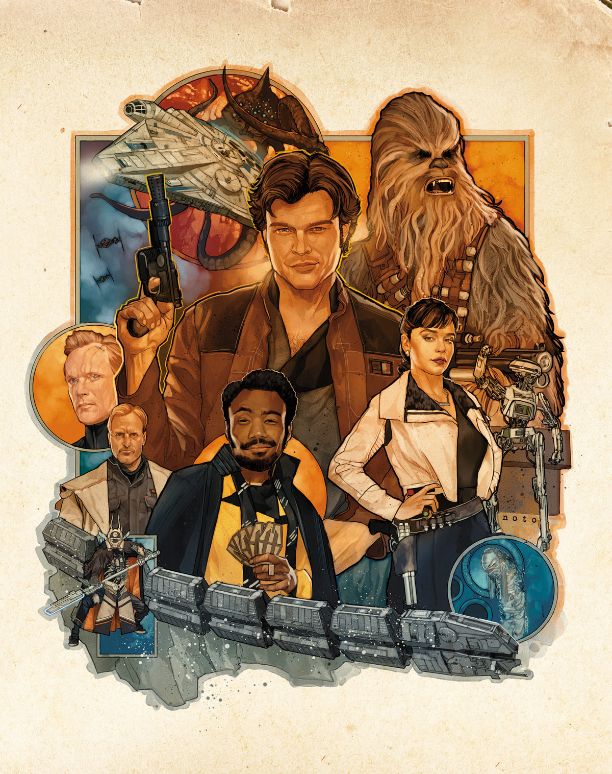 Phil Noto's illustration for StarWars.com's exclusive Solo: A Star Wars Story insert cover and slipcover.