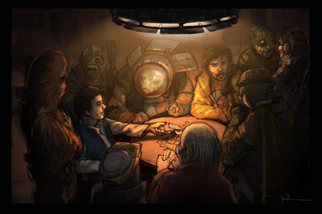 Concept art of the sabacc game from Solo: A Star Wars Story.