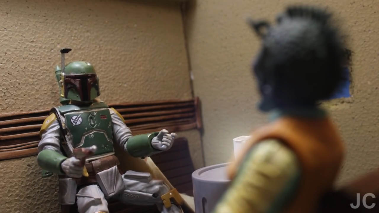 "Boba Fett teaches Greedo the ways of bounty hunting in a scene from ""Bounty Buddies."""
