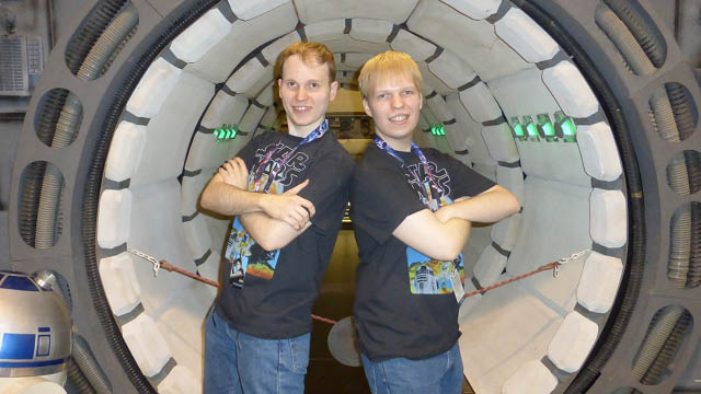 Brothers Cody and Jordan Gustafson pose at Star Wars Celebration Anaheim.