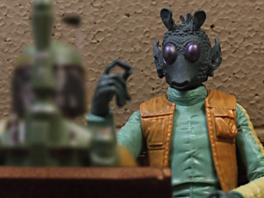 "Greedo meets Boba Fett in a scene from ""Bounty Buddies."""